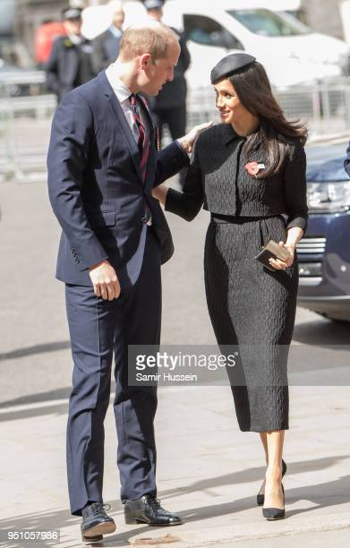 Prince William Duke of Cambridge and Meghan Markle attend the Anzac Day service at Westminster Abbey on April 25 2018 in London England