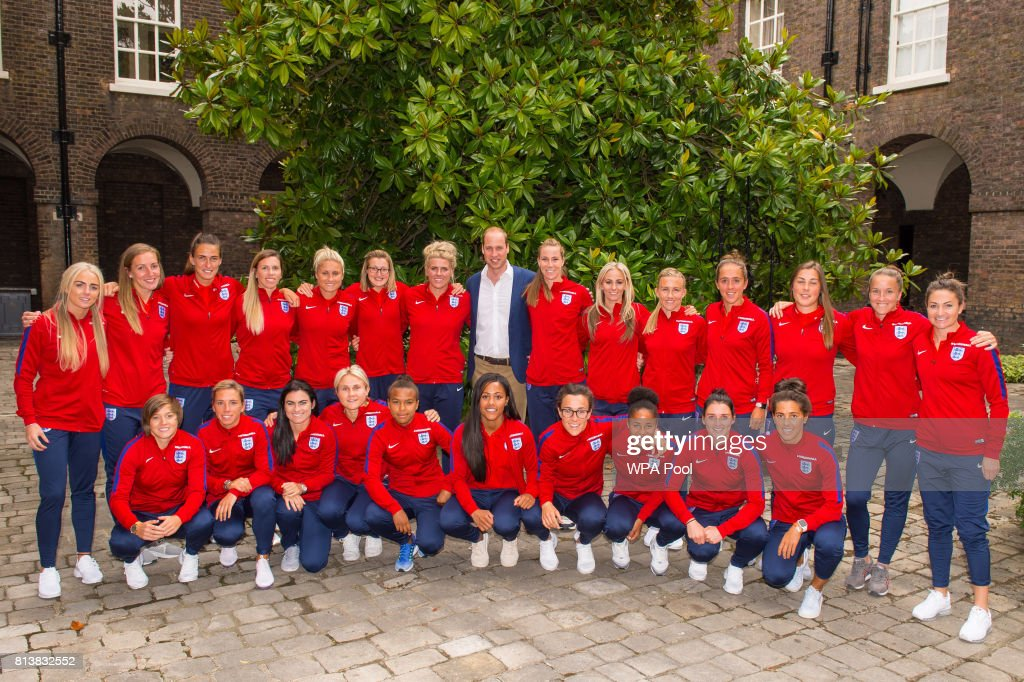 Prince William, Duke of Cambridge and members of the England Women football team pose for a group photograph during a reception for the England Women football team at Kensington Palace on July 13, 2017 in London, England.