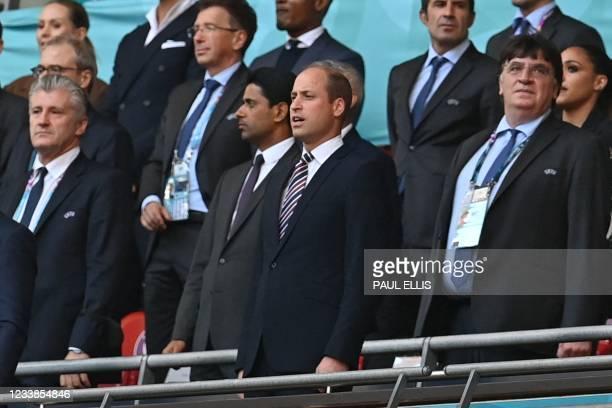 Prince William , Duke of Cambridge, and Paris Saint-Germain's Qatari president, UEFA board member and BeIN Sports board chairman Nasser Al-Khelaifi...