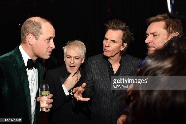 Prince William Duke of Cambridge and Patron of Centrepoint meets Nick Rhodes John Taylor and Simon Le Bon of Duran Duran as he marks the charity's 50...
