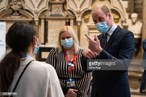 Prince William, Duke of Cambridge and Pippa Nightingale , Chief Nurse at Chelsea and Westminster Hospital NHS Foundation Trust, speak to a member of...