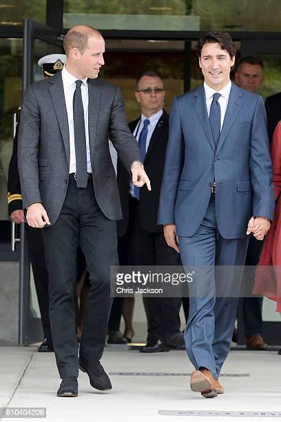 Prince William Duke of Cambridge and Prime Minister Justin Trudeau leave the Immigrant Services Society a charitable organisation that provides...