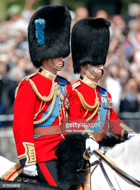 Prince William Duke of Cambridge and Prince Andrew Duke of York ride on horseback down The Mall during Trooping The Colour 2018 on June 9 2018 in...