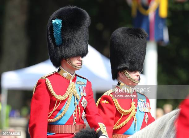 Prince William Duke of Cambridge and Prince Andrew Duke of York Royal during Trooping The Colour on the Mall on June 9 2018 in London England The...