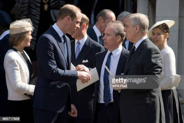 Prince William Duke of Cambridge and Prince Andrew Duke of York speak with David ArmstrongJones as they leave a Service of Thanksgiving for the life...