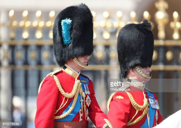 Prince William Duke of Cambridge and Prince Andrew Duke of York during Trooping The Colour on the Mall on June 9 2018 in London England The annual...