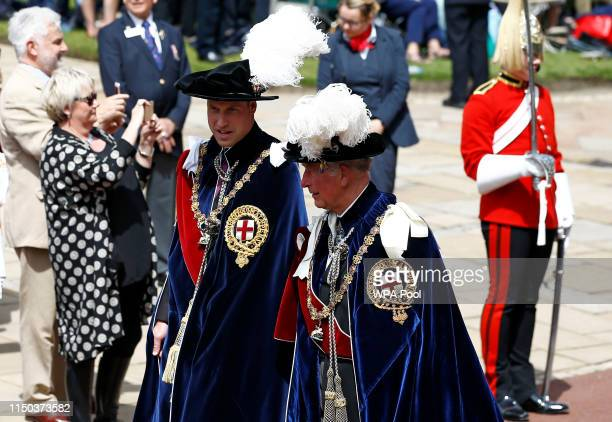 Prince William Duke of Cambridge and Prince Charles Prince of Wales attend the Order of the Garter Service on June 17 2019 in Windsor England The...
