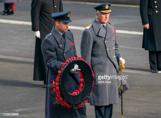 Prince William, Duke of Cambridge and Prince Charles, Prince of Wales attend the National Service Of Remembrance at the Cenotaph in Westminster, amid...