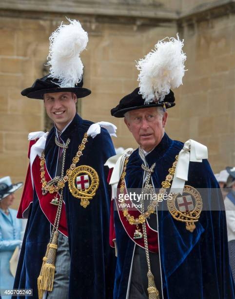 Prince William Duke of Cambridge and Prince Charles Prince of Wales arrive to attend the Most Noble Order of the Garter Ceremony on June 16 2014 in...