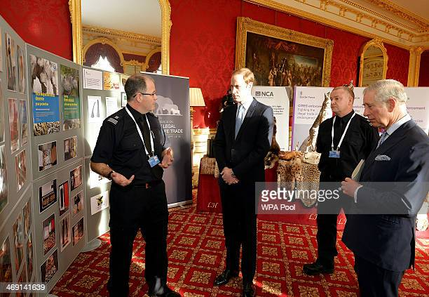 Prince William Duke of Cambridge and Prince Charles Prince of Wales attend the Illegal Wildlife Trade Conference at Lancaster House on February 13...