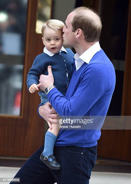 Prince William, Duke of Cambridge, and Prince George arrive at the Lindo Wing at St. Mary's Hospital on May 02, 2015 in London, England. The Duchess...