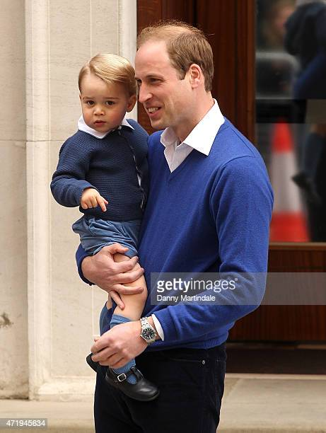 Prince William Duke of Cambridge and Prince George arrive at the Lindo Wing after it was announced that the Duchess of Cambridge has given birth to a...
