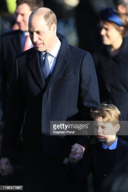 Prince William Duke of Cambridge and Prince George attend the Christmas Day Church service at Church of St Mary Magdalene on the Sandringham estate...