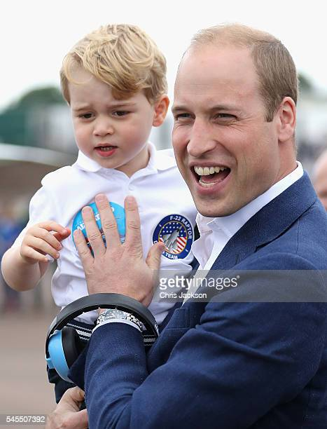 Prince William, Duke of Cambridge and Prince George during a visit to the Royal International Air Tattoo at RAF Fairford on July 8, 2016 in Fairford,...