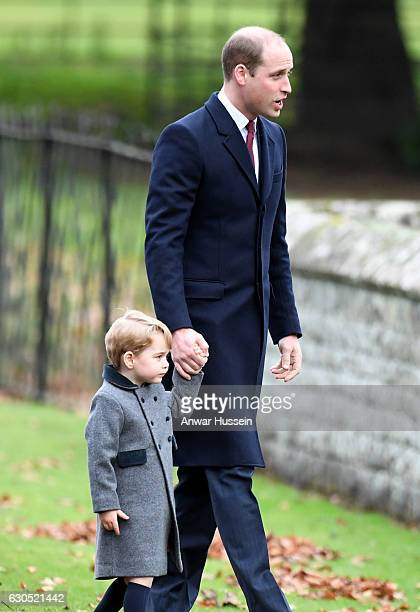 Prince William Duke of Cambridge and Prince George of Cambridge attend a Christmas Day service at St Marks Church on December 25 2016 in Englefield...