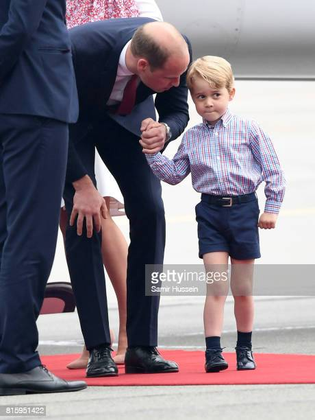 Prince William Duke of Cambridge and Prince George of Cambridge as they arrive with Catherine Duchess of Cambridge and Princess Charlotte of...
