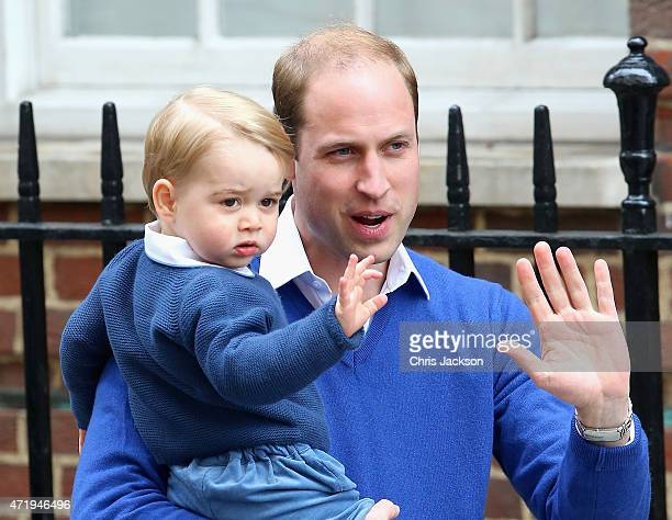 Prince William, Duke of Cambridge and Prince George of Cambridge arrive at the Lindo Wing after Catherine, Duchess of Cambridge gave birth to a baby...