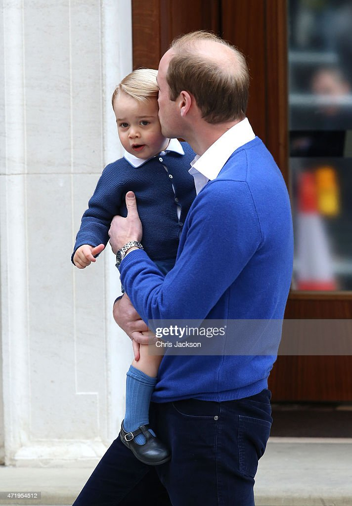 Prince William, Duke of Cambridge and Prince George of Cambridge arrive at the Lindo Wing after Catherine, Duchess of Cambridge gave birth to a baby girl at St Mary's Hospital on May 2, 2015 in London, England. The Duchess was safely delivered of a daughter at 8:34am this morning, weighing 8lbs 3 oz who will be fourth in line to the throne.