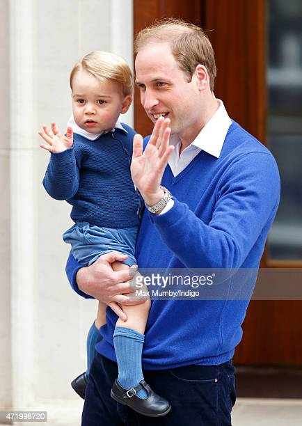 Prince William Duke of Cambridge and Prince George of Cambridge arrive at the Lindo Wing after Catherine Duchess of Cambridge gave birth to a baby...