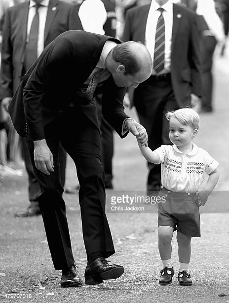 Prince William, Duke of Cambridge and Prince George of Cambridge arrive at the Church of St Mary Magdalene on the Sandringham Estate for the...