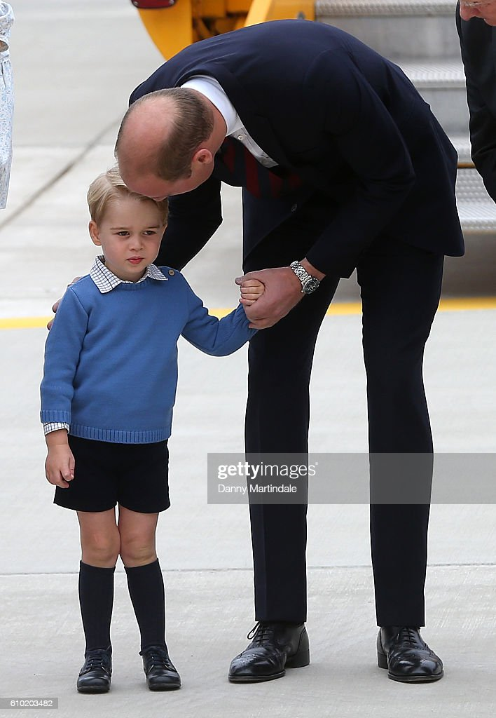 Prince William, Duke of Cambridge and Prince George of Cambridge arrive at Victoria Airport on September 24, 2016 in Victoria, Canada. Prince William, Duke of Cambridge, Catherine, Duchess of Cambridge, Prince George and Princess Charlotte are visiting Canada as part of an eight day visit to the country taking in areas such as Bella Bella, Whitehorse and Kelowna