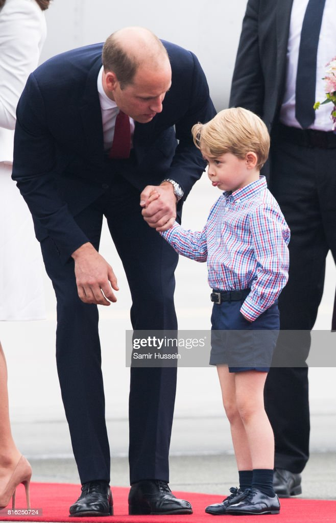 Prince William, Duke of Cambridge and Prince George of Cambridge arrive at Warsaw airport during an official visit to Poland and Germany on July 17, 2017 in Warsaw, Poland.