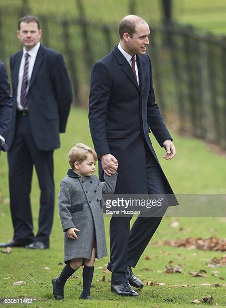 Prince William Duke of Cambridge and Prince George of Cambridge attend Church on Christmas Day on December 25 2016 in Bucklebury Berkshire