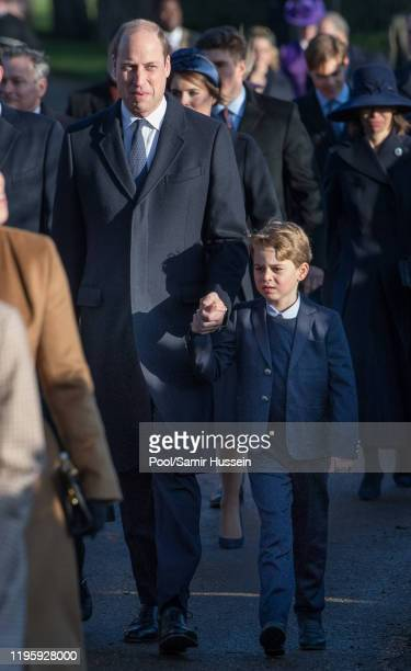 Prince William Duke of Cambridge and Prince George of Cambridge attends the Christmas Day Church service at Church of St Mary Magdalene on the...