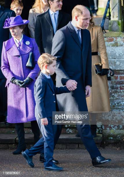Prince William, Duke of Cambridge and Prince George of Cambridge attends the Christmas Day Church service at Church of St Mary Magdalene on the...
