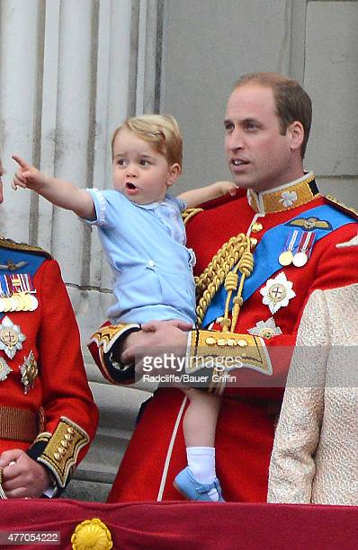 Prince William Duke of Cambridge and Prince George of Cambridge during the annual Trooping The Colour ceremony at Buckingham Palace on June 13 2015...