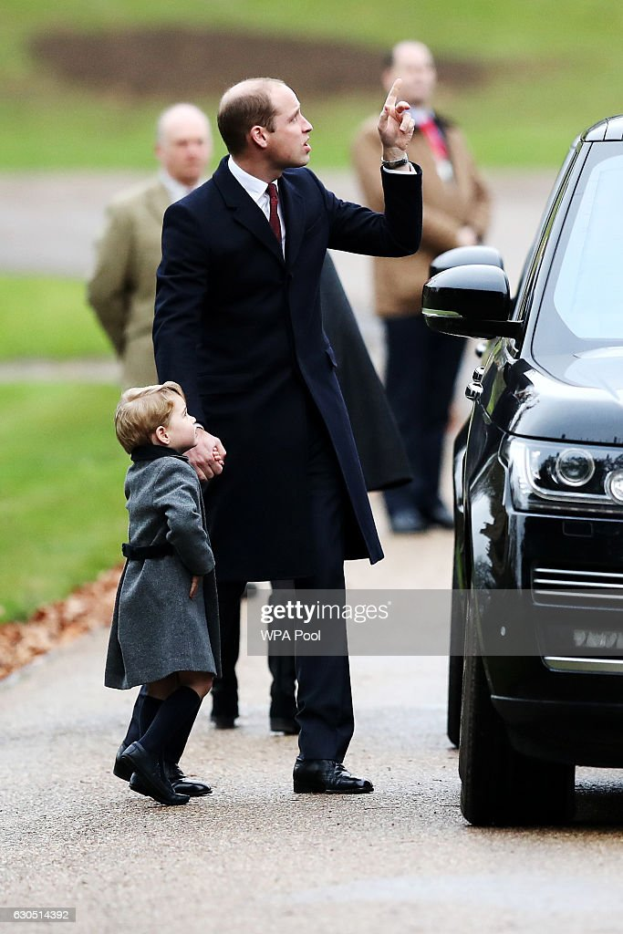 Prince William, Duke of Cambridge and Prince George of Cambridge arrive to attend the service at St Mark's Church on Christmas Day on December 25, 2016 in Bucklebury, Berkshire.