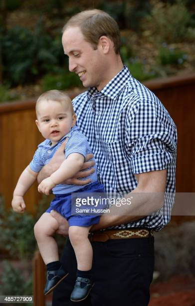 Prince William Duke of Cambridge and Prince George of Cambridge visit the Bilby Enclosure at Taronga Zoo on April 20 2014 in Sydney Australia The...