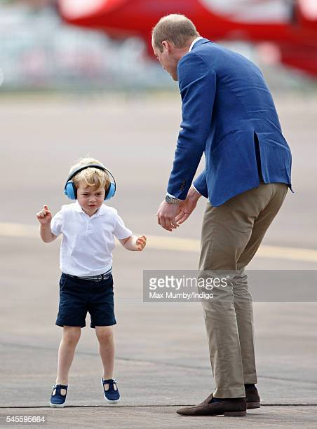 Prince William Duke of Cambridge and Prince George of Cambridge visit the Royal International Air Tattoo at RAF Fairford on July 8 2016 in Fairford...