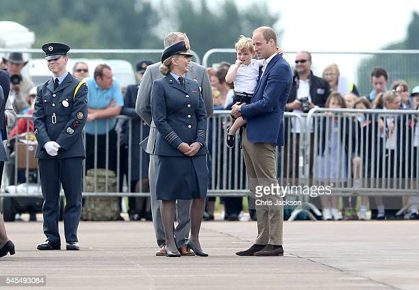 Prince William Duke of Cambridge and Prince George speak to Carol Vorderman Ambassador for the RAF Air Cadets after arriving for a visit to the Royal...