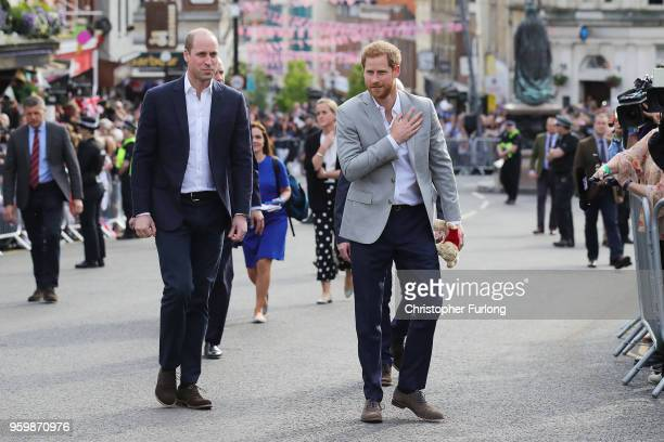 Prince William Duke of Cambridge and Prince Harry ahead of the royal wedding of Prince Harry and Meghan Markle on May 18 2018 in Windsor England