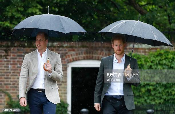 Prince William, Duke of Cambridge and Prince Harry are seen during a visit to The Sunken Garden at Kensington Palace on August 30, 2017 in London,...