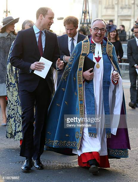 Prince William Duke of Cambridge and Prince Harry arrive to attend The Commonwealth Observance Day Service on March 14 2016 in London United Kingdom...