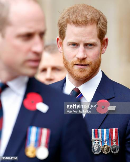 Prince William, Duke of Cambridge and Prince Harry attend an Anzac Day Service of Commemoration and Thanksgiving at Westminster Abbey on April 25,...