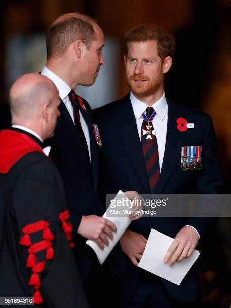 Prince William Duke of Cambridge and Prince Harry attend an Anzac Day Service of Commemoration and Thanksgiving at Westminster Abbey on April 25 2018...