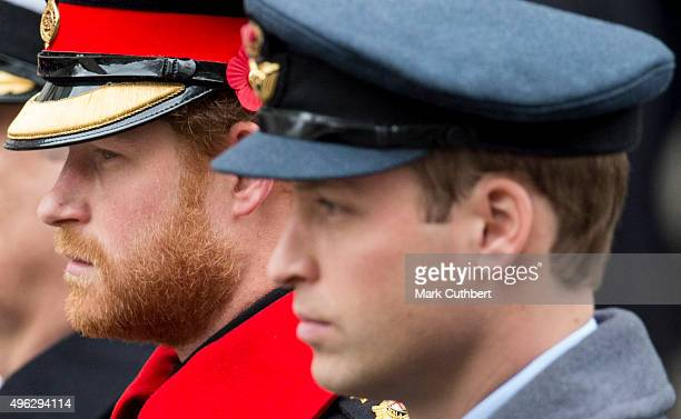 Prince William Duke of Cambridge and Prince Harry attend the annual Remembrance Sunday Service at the Cenotaph on Whitehall at The Cenotaph on...
