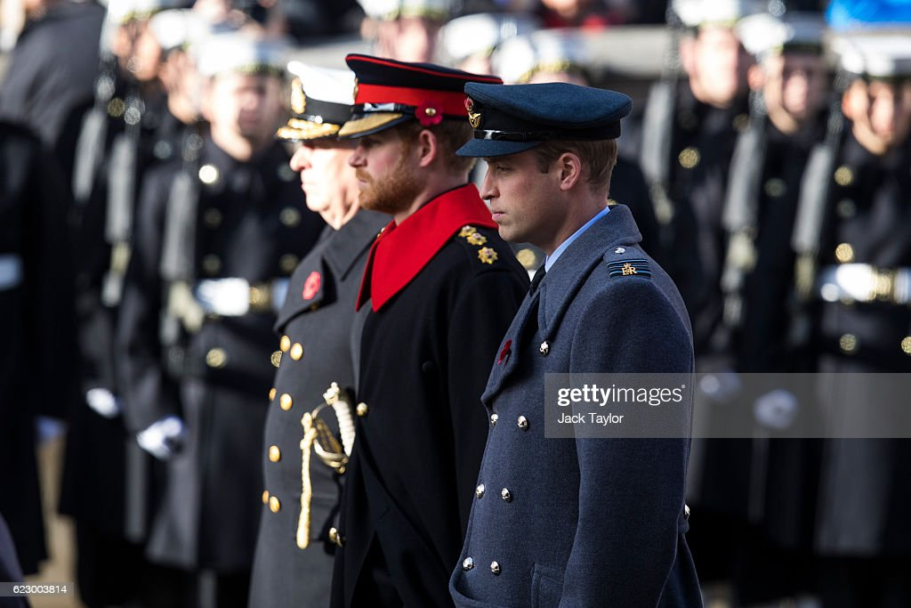 Prince William, Duke of Cambridge (R) and Prince Harry attend the annual Remembrance Sunday Service at the Cenotaph on Whitehall on November 13, 2016 in London, England. The Queen, senior politicians, including the British Prime Minister and representatives from the armed forces pay tribute to those who have suffered or died at war.