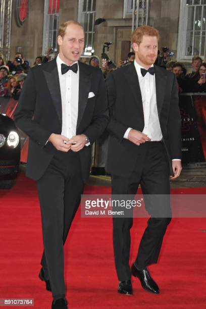Prince William Duke of Cambridge and Prince Harry attend the European Premiere of Star Wars The Last Jedi at the Royal Albert Hall on December 12...