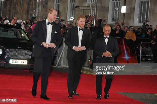 Prince William Duke of Cambridge and Prince Harry attend the European Premiere of 'Star Wars The Last Jedi' at the Royal Albert Hall on December 12...