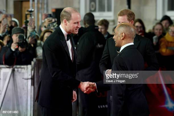 Prince William Duke of Cambridge and Prince Harry attend the European Premiere of 'Star Wars The Last Jedi' at Royal Albert Hall on December 12 2017...