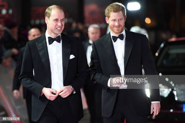 Prince William, Duke of Cambridge and Prince Harry attend the European Premiere of 'Star Wars: The Last Jedi' at Royal Albert Hall on December 12,...
