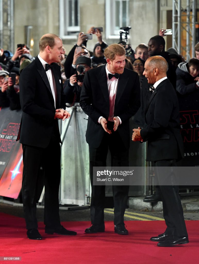 Prince William, Duke of Cambridge and Prince Harry attend the European Premiere of 'Star Wars: The Last Jedi' at Royal Albert Hall on December 12, 2017 in London, England.