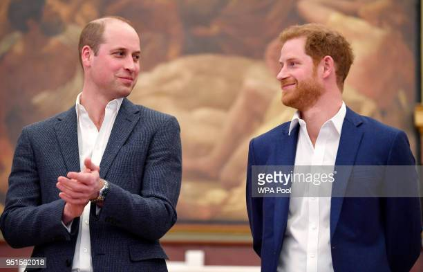 Prince William Duke of Cambridge and Prince Harry attend the opening of the Greenhouse Sports Centre on April 26 2018 in London United Kingdom
