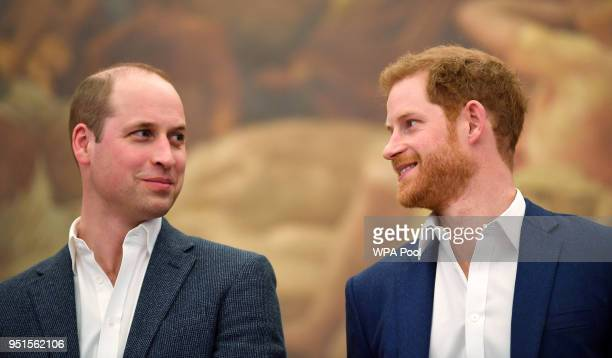 Prince William, Duke of Cambridge and Prince Harry attend the opening of the Greenhouse Sports Centre on April 26, 2018 in London, United Kingdom.
