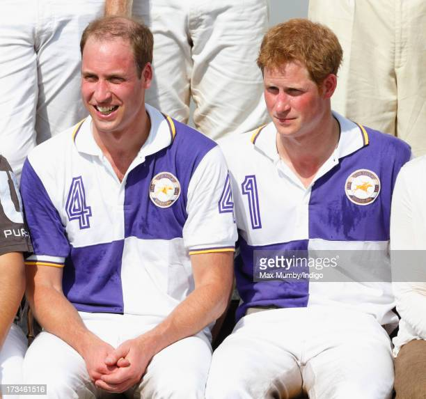 Prince William Duke of Cambridge and Prince Harry attend the prize giving after playing in the Jerudong Trophy polo match at Cirencester Park Polo...