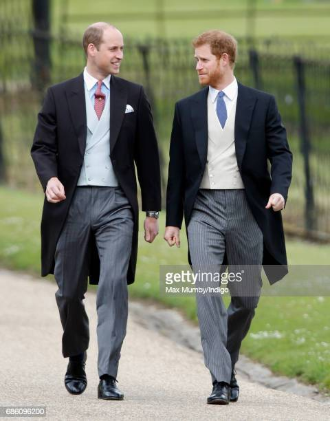 Prince William Duke of Cambridge and Prince Harry attend the wedding of Pippa Middleton and James Matthews at St Mark's Church on May 20 2017 in...